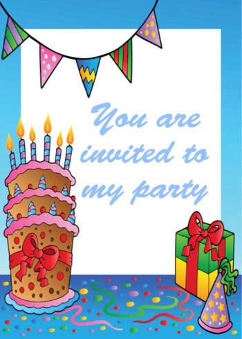 Birthday cake and present border