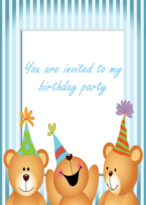 Party teddies with striped border
