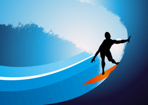 Silhouette of male surfer