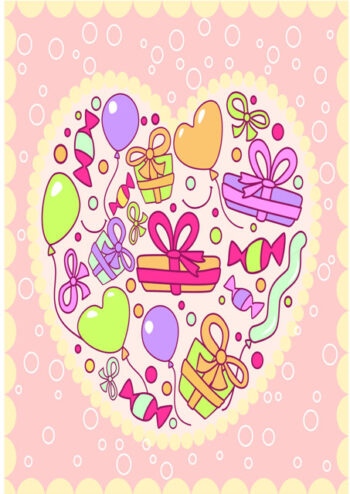 Balloons and presents in heart shape