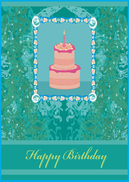 Birthday cake with blue and green design