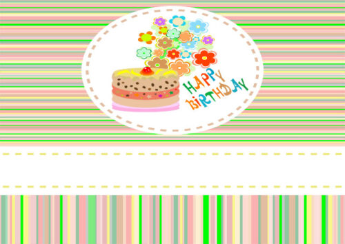 Cake and flowers with striped background