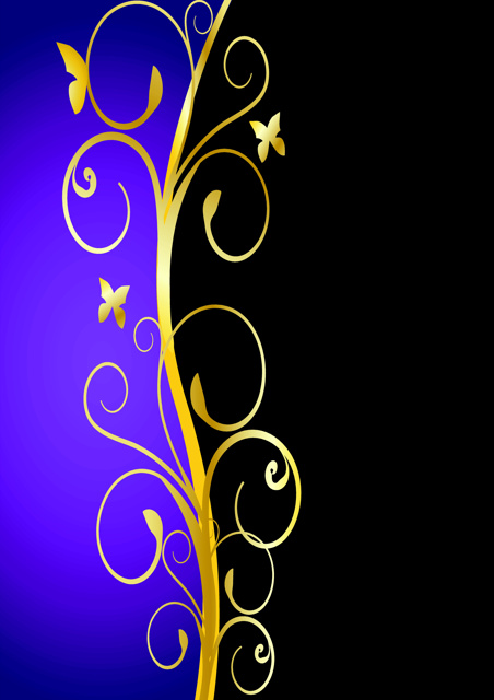 Gold swirl design with purple and black background