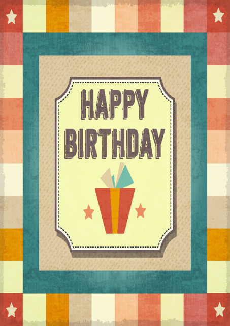 Happy birthday with patterned background