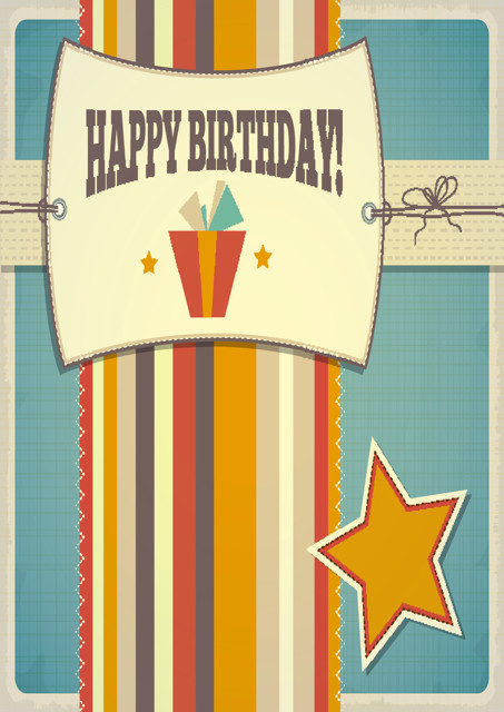 Happy birthday with striped background
