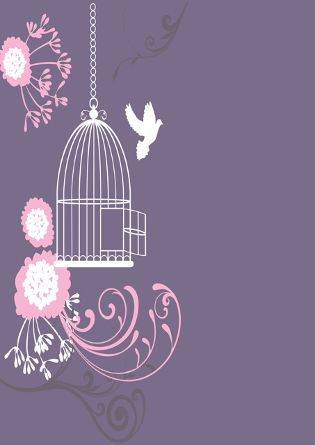 Bird and bird cage with purple background