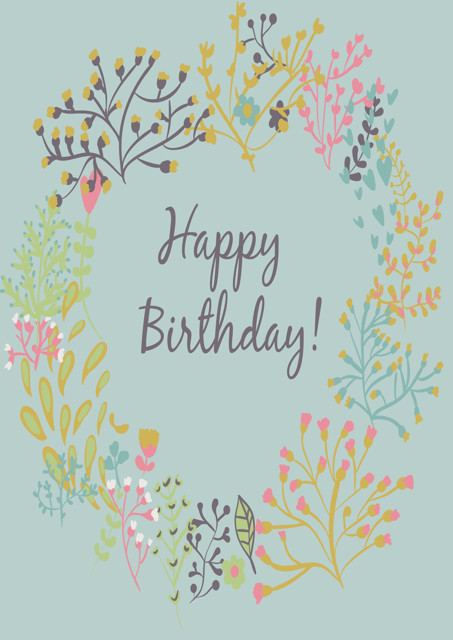 Happy birthday with floral wreath