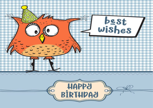 Happy birthday with owl and blue background