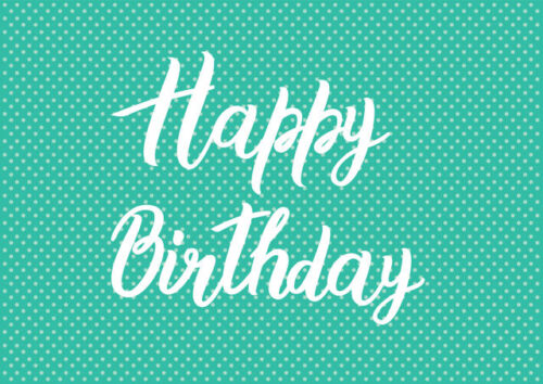 Happy birthday with teal background