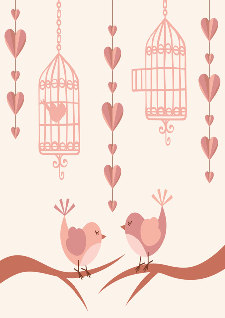 Birds with bird cages and hearts