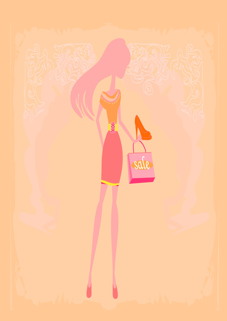Female with peach background