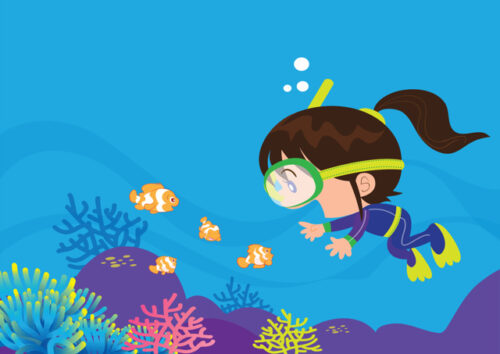 Little girl scuba diving