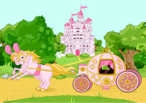 Fantasy castle with horses and carriage