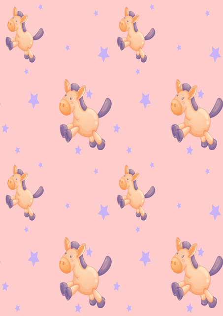 Cute ponies with pink background