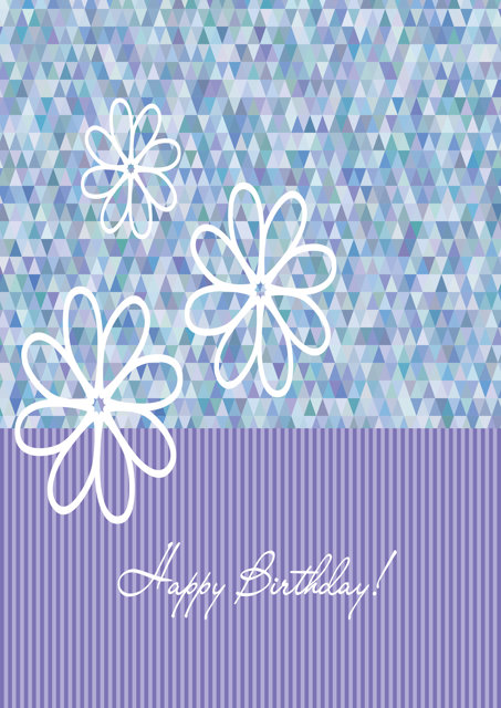 Happy birthday with lilac pattern and flowers
