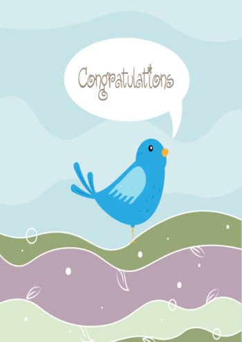 Congratulations with bluebird