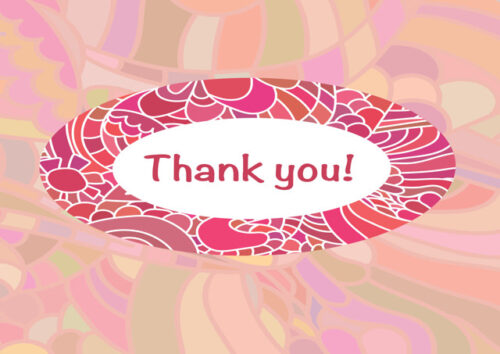 Thank you with vibrant border and pastel background