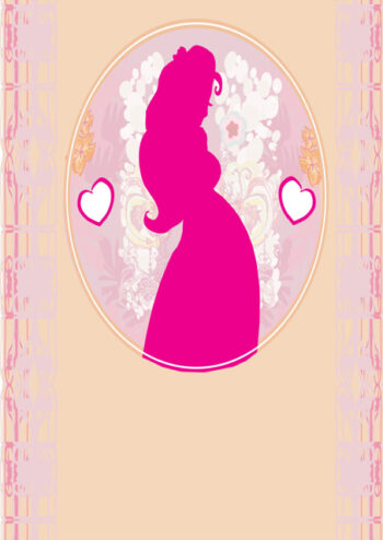 Pink silhouette of pregnant lady