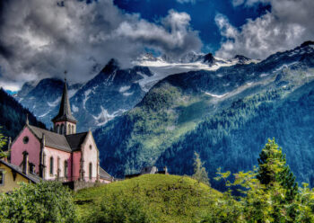 Church within mountains