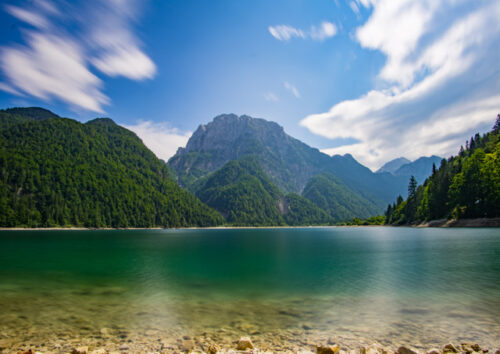 Lake surrounded by mountains