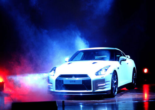 White GT-R with coloured display lighting
