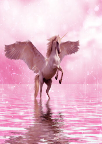 Unicorn standing on hind legs in water