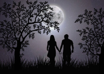 Silhouette of male and female characters holding hands