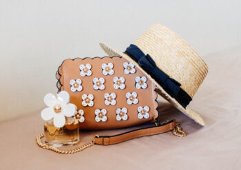 Hat handbag and perfume