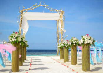 Wedding scene on the beach
