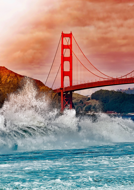 Bridge with waves hitting the rocks