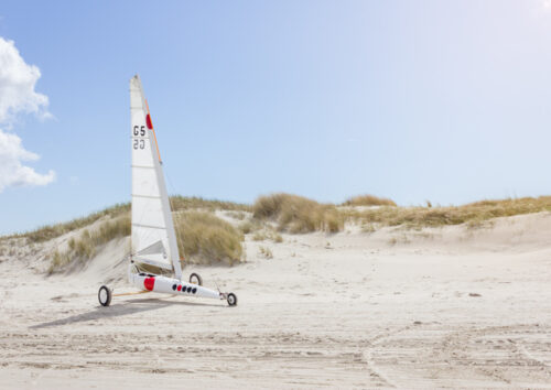 Land windsurfer on beach