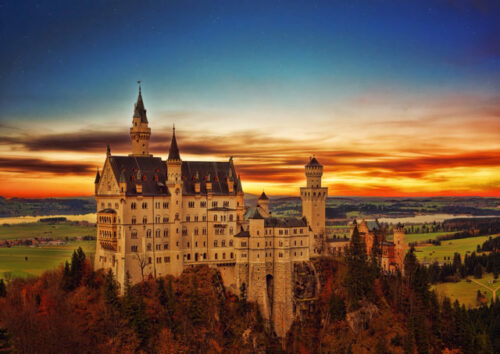 Large and imposing castle with sunset