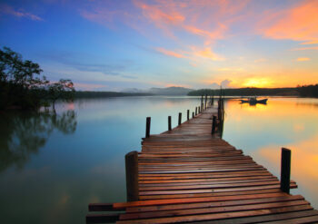 Wooden walkway and water