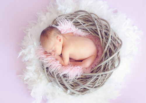 Baby asleep in basket