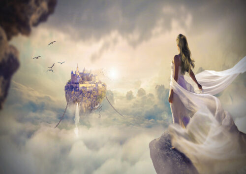 Fantasy picture of female looking at castle