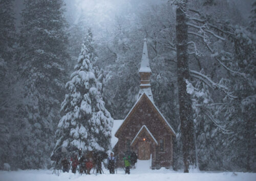 Church and trees in snowy setting