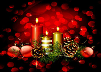 Candles and pine cone Christmas design