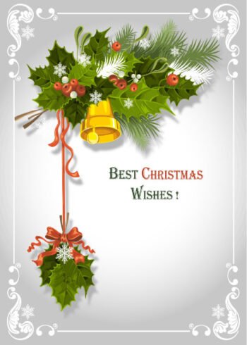 Holly berries and bell Christmas design