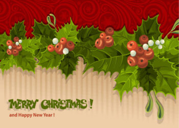 Holly and berries Christmas design