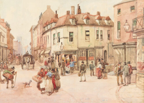 Historic street scene of people chatting