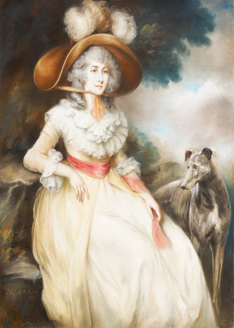 Vintage portrait of a lady and her dog