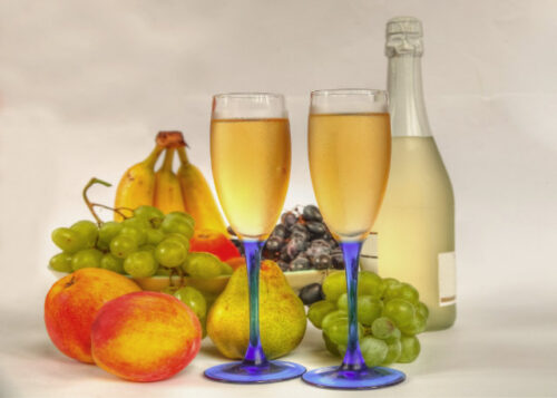 Glasses of wine and fruit