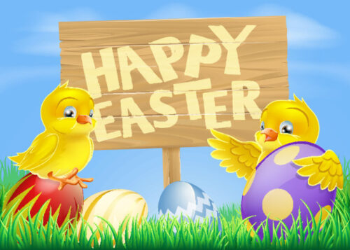 Happy Easter with chicks and eggs