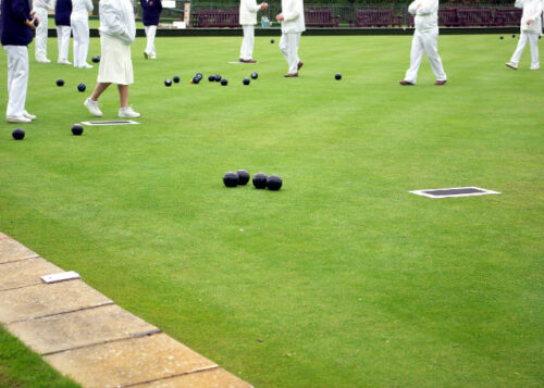 Playing bowls on the bowling green