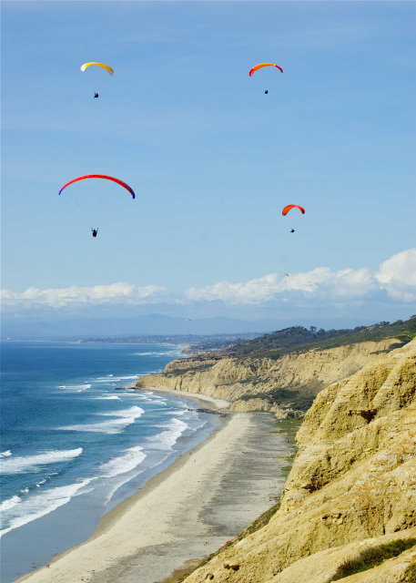 People paragliding above coastline