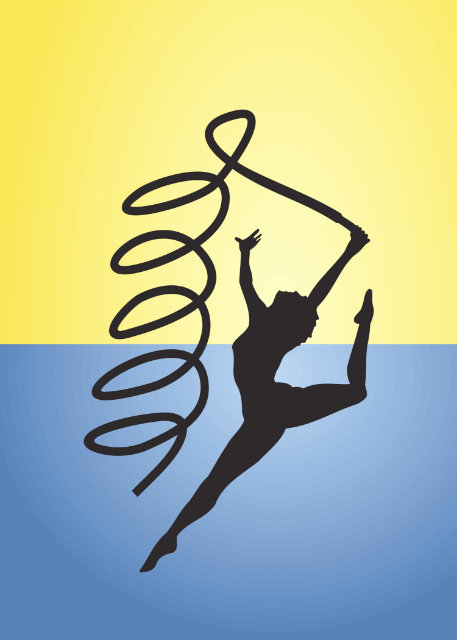 Silhouette of gymnast with ribbon