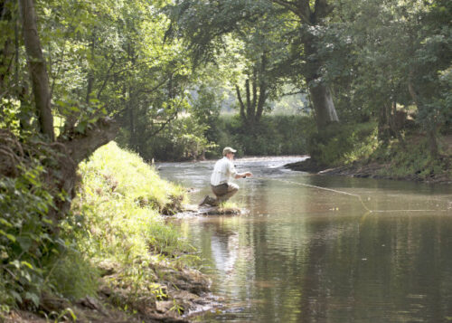 Male fishing in river