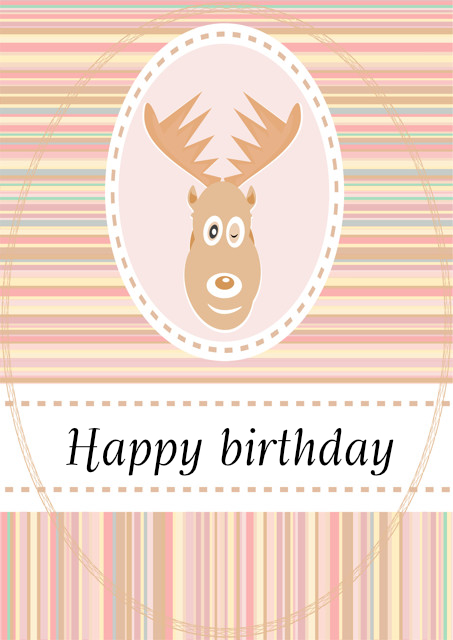 Deer with pastel striped background