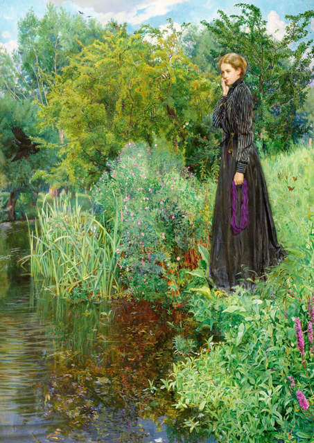 Victorian lady by a river