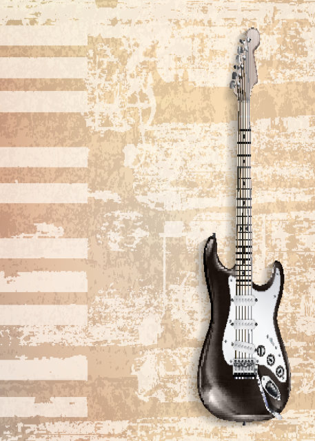 Black guitar with cream background